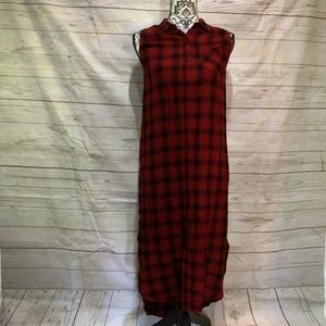 Mossimo Red Plaid Dress Sleeveless Button Jumper